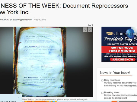 BUSINESS OF THE WEEK: Document Reprocessors of New York Inc.