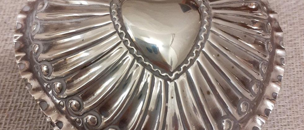 Silver Heart shaped trinket box