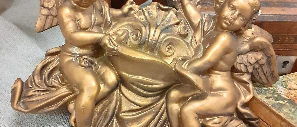 Pair of Victorian plaster gilded cherubs