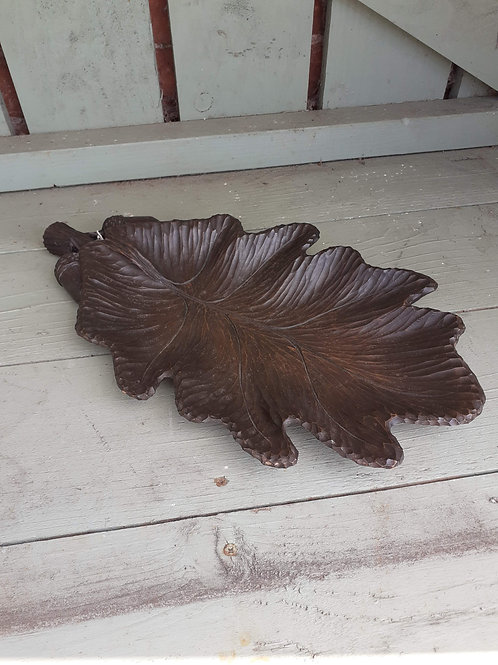 French hand carved oak leaf tray