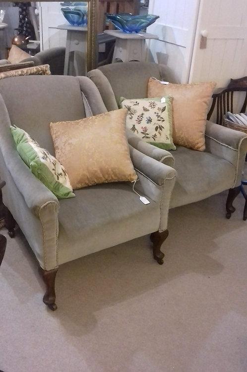 Pair Victorian fireside chairs