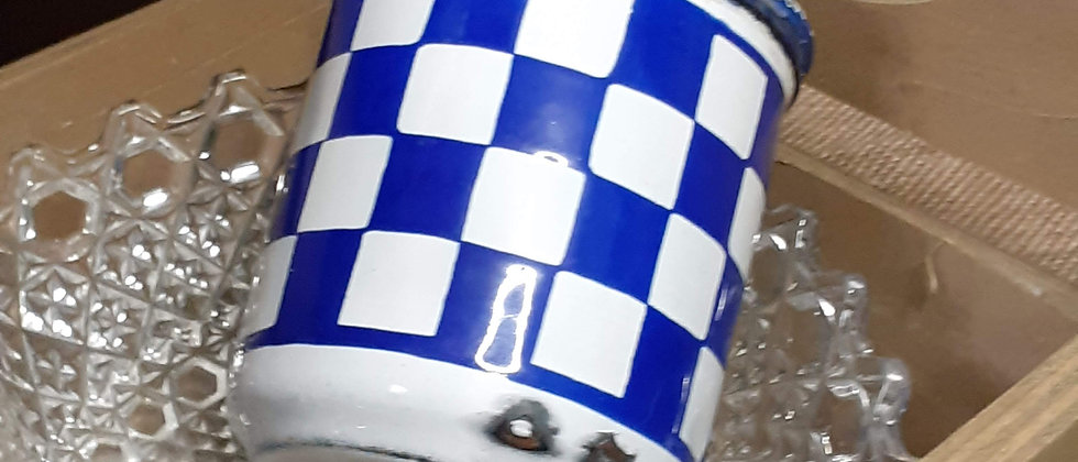 French enamel deco chequer board container