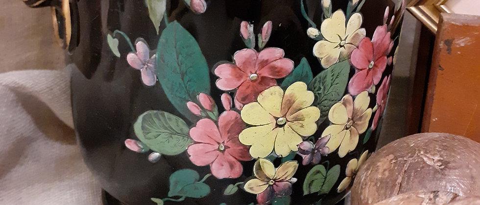 Black floral planter