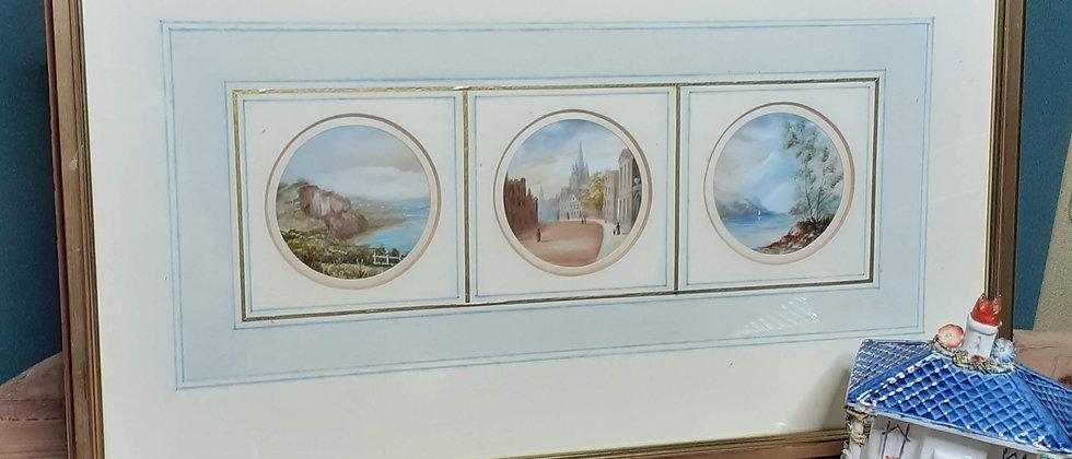 Three framed acrylics on silk