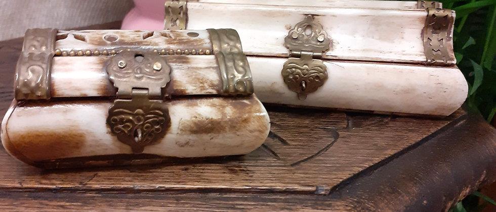 Bone and brass trinket box