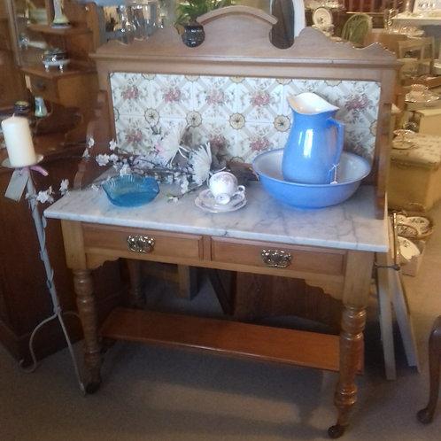 Edwardian Satin Wood Marble Topped Washstand