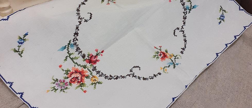 Cross stitch tray cloth