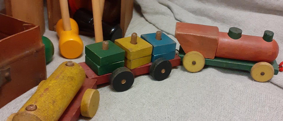Wooden pull along train