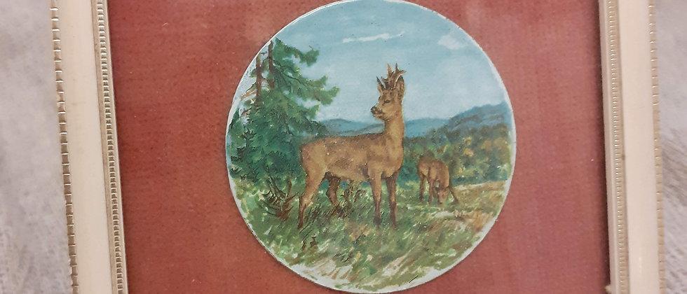 Miniature enameled framed plaque