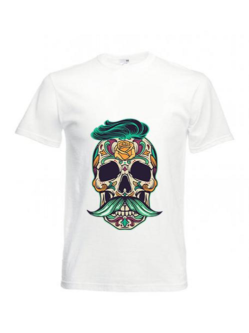 Men in Barbe - Sugar Skull White T-Shirt for Men