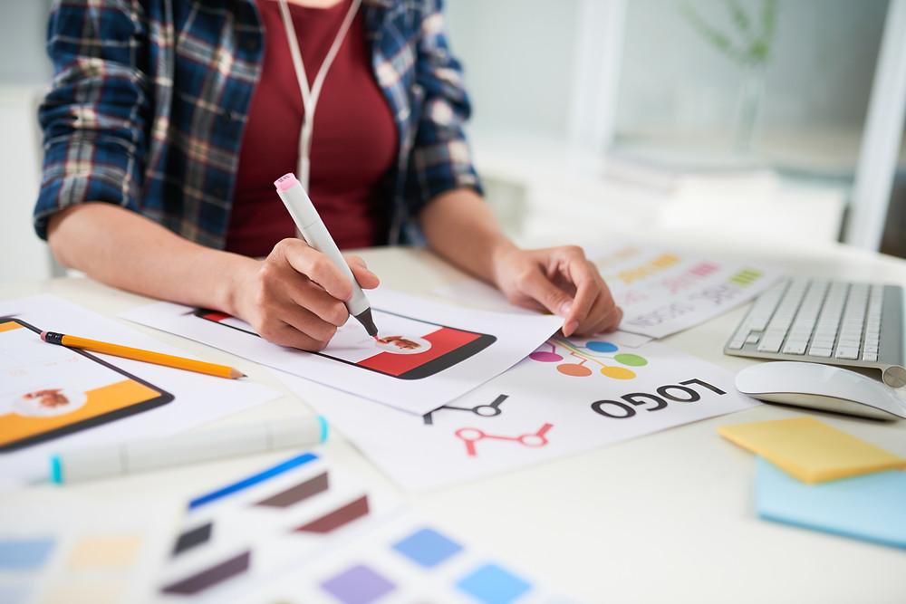 A designer using their visual expertise