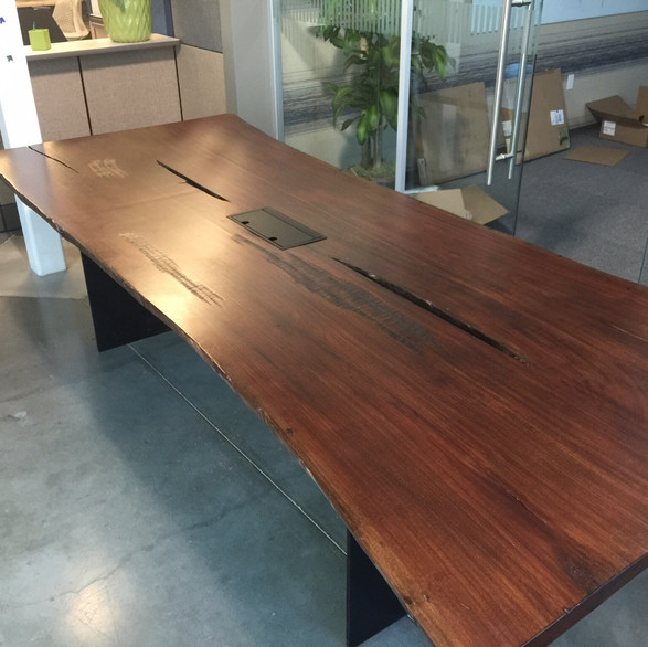Live Edge Slab and Iron Conference Table