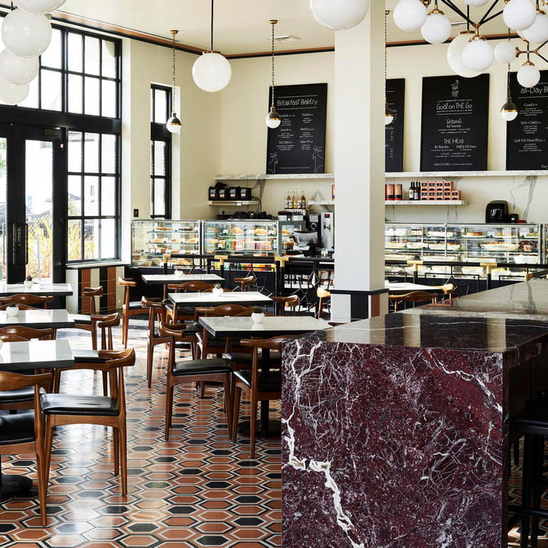 Dekton and Iron Cafe Tables / Marble Communal Table - Goat Tree Cafe