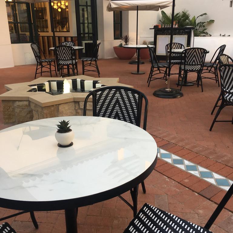 Dekton and Iron Patio Tables - Goat Tree Cafe