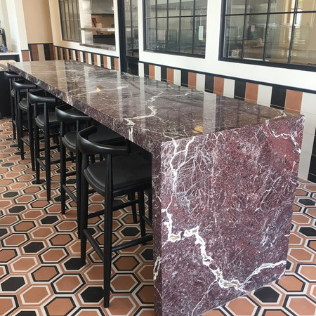 14 foot Marble Communal Table - Goat Tree Cafe