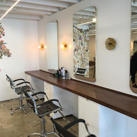 25 foot Walnut Flitch Countertops - Tress Salon