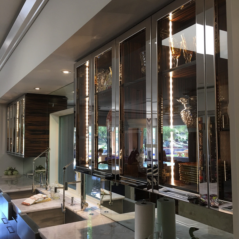 Mirror polished stainless steel cabinet doors