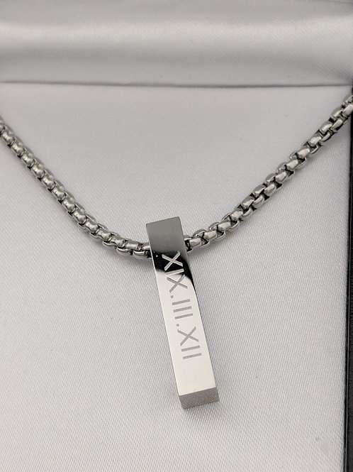 Short ID Message Name Bar Identity Necklace 30 MM