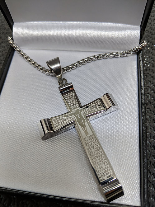 Personalised Engraved Statement Steel Crucifix Cross Pendant Necklace