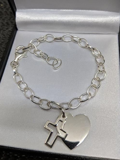 925 Sterling Silver Personalise Engraved Heart Charm Cross Bracelet