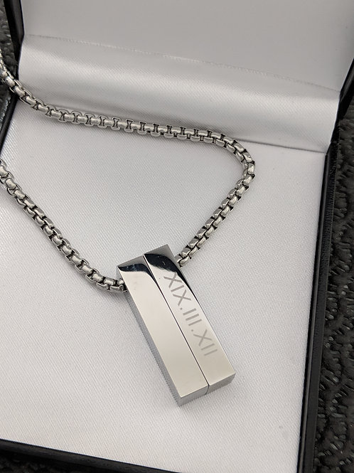Short ID Double Message Name Bar Identity Necklace 30 MM