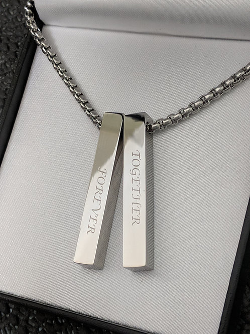 Medium ID Double Message Name Bar Identity Necklace 40 MM