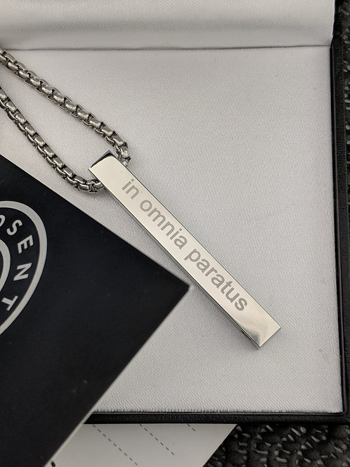 Long ID Message Name Bar Identity Necklace 50 MM