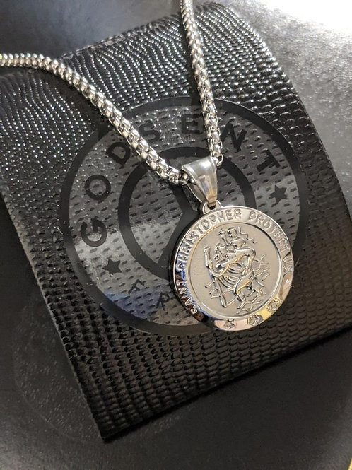 Large Round St Christopher Travel Protection Necklace