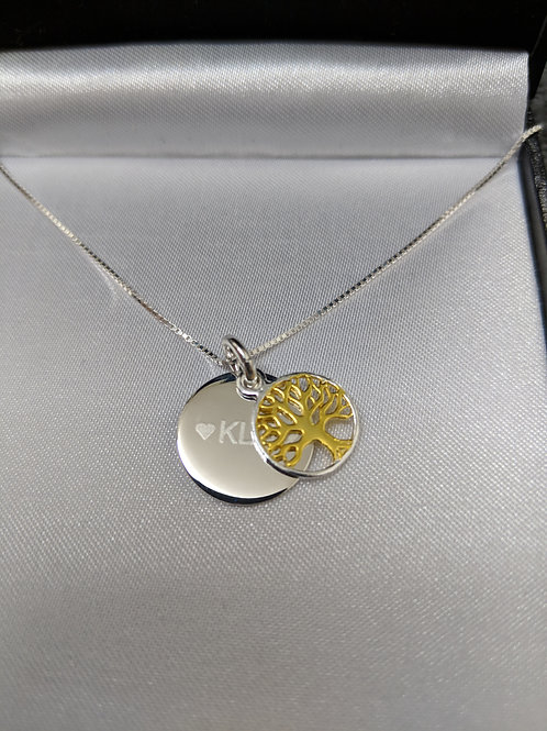 Sterling Silver Personalised Engraved Gold Tree Of Life Pendant Necklace