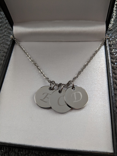 a2a1822b7b86 Personalised Engraved Name / Initial Charm Necklace Gift