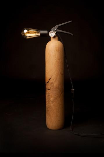 Lampe Extincteur Scandinave Bois Chêne - THE BONFIRE