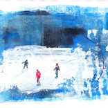 Skaters, acrylics and collage, 19x14cm (SOLD)