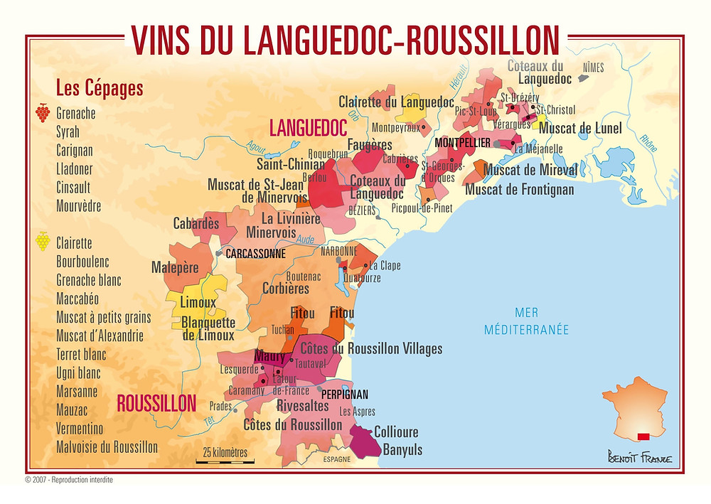 wine-map Languedoc roussillon