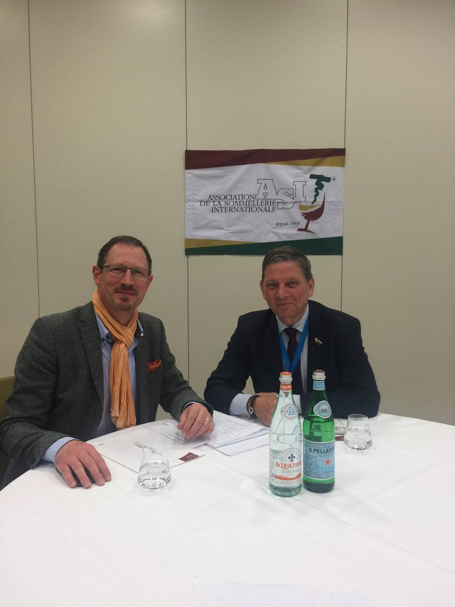 Peer together with Tim Vollerslev judging at the ASI EMEA Sommelier Championship