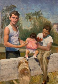 """Three Generations, San Diego 1954, Oil on paper"