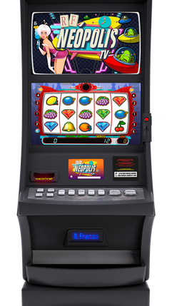 NEOPOLIS FIVE Máquina de Doble Vídeo, disponible en versión individual y para formar un multipuesto, apta para Hostelería, Salón y Bingo dependiendo de la reglamentación de cada comunidad.  Disponible en muebles Uprigth y Slant Top de estética muy moderna y atractiva Incorpora pantallas de 26″ en el mueble Gran Slant Top (RF3003)
