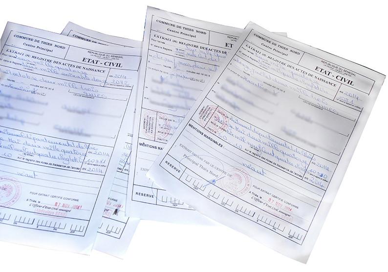 Documents d'état civil