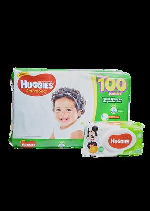 Combo Huggies Active Sec X100 Etapa 3 +120 Toallitas Huggies