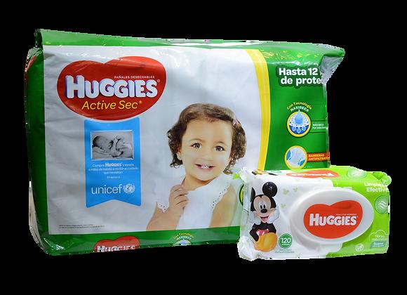 Combo Huggies Active Sec X100 Etapa 2+120 Toallitas Huggies