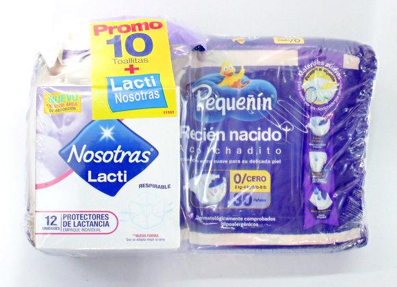 Pequeñin Recién nacido x30Unds + 12 lactinosotras + 10 toallitas