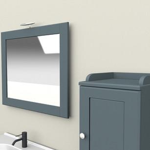 COMP. 111 Particolare specchio Kompo in finitura laccata Blu Polvere 299 opaco.