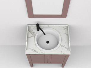 COMP. 60 Particolare top in marmo con lavabo Pisa in incasso soprapiano in ceramica diametro 44.
