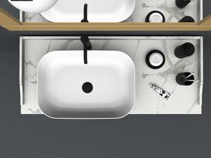 COMP. 62 Particolare top in marmo Bianco Carrara da cm 120 x 51 x sp.2 con lavabo Kup in appoggio in ceramica da cm 60 x 39 x h 15.