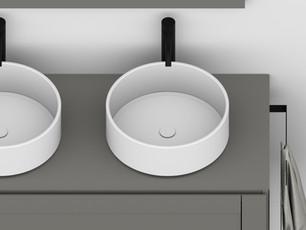 COMP. 66 Particolare lavabi Roma in appoggio in ceramica diametro 40.