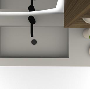 COMP. 40 Particolare top con vasca integrata in resina effetto corian Pergamena 229 da cm 123,5 x 51 x h 1,5.