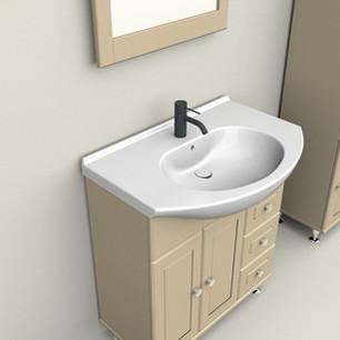 COMP. 114 Particolare lavabo integrato in ceramica da cm 75 x 50 x h 4.