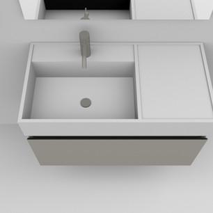 COMP. 83 Particolare top scatolato con vasca integrata sinistra in resina effetto corian Bianco matt da cm 83 x 44 x h 13.