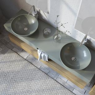 COMP. 19 Particolare lavabi New York in appoggio in ceramica effetto corian Verde Laguna 47 opaco diametro 45.