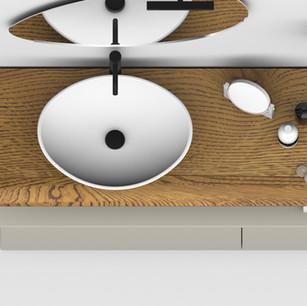 COMP. 06 Particolare lavabo Venezia in appoggio in ceramica da cm 59 x 44 x h 17.
