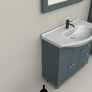 COMP. 111 Particolare lavabo integrato in ceramica da cm 90 x 50 x h 4.